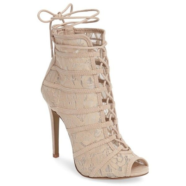 Women's Chinese Laundry Jingle Wraparound Peep Toe Bootie ($100) ❤ liked on Polyvore featuring shoes, boots, ankle booties, nude, lace up ankle booties, nude ankle boots, stiletto ankle boots, lace up boots and lace-up booties