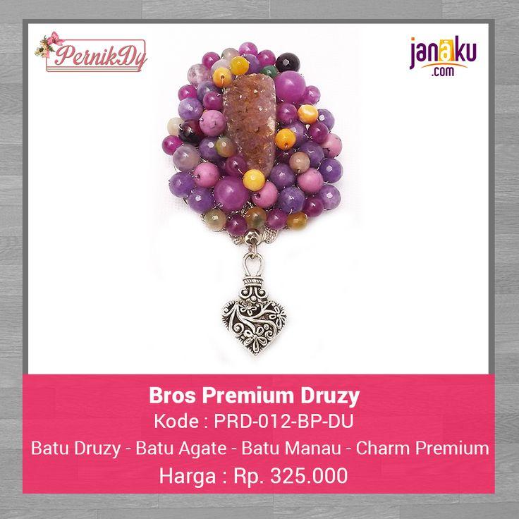 Bros Premium Druzy Ungu -  Pernikdy -  IDR 325.000 - Batu Druzy Pilihan dirangkai dengan batu agate dan batu manau dipercantik dengan charm premium