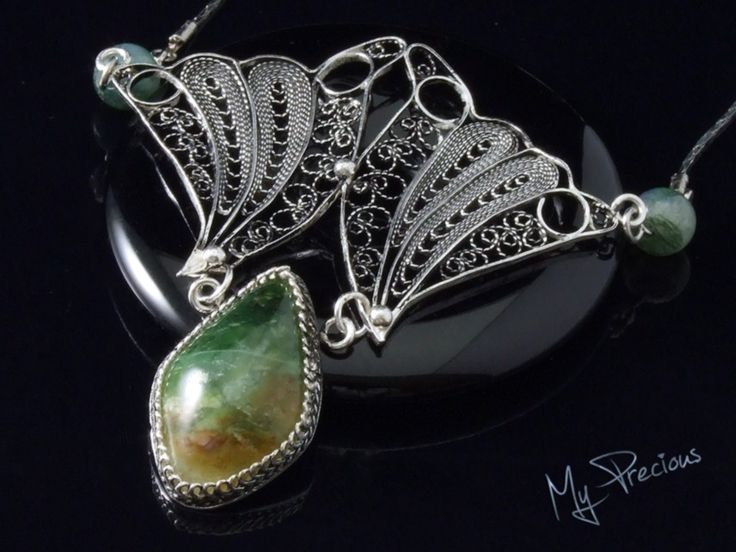 My Precious - Fine silver filigree pendant with Green Opal