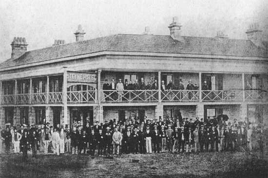 The first Steyne Hotel at the junction of The Corso and North Steyne,Manly in the Northern Beaches region of Sydney (year unknown).