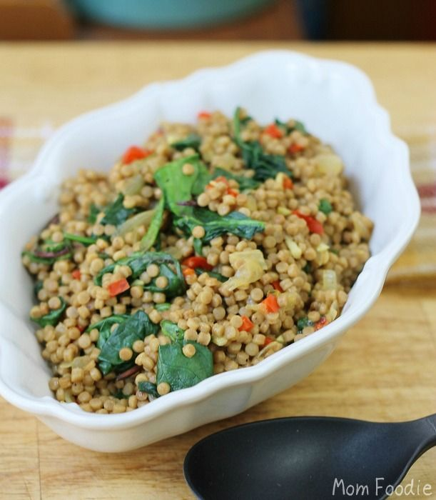 Whole Wheat Pearl Couscous with Red Pepper, Sweet Onion and Spinach ...