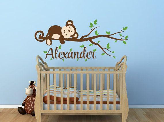 Monkey Decal Monkey Name Decal Nursery Decor Monkey Nursery Decal   Monkey  Tree Branch Decal Jungle Theme Nursery Decor