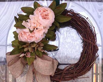 Small peony wreath, Spring wreath, Front door wreath, Spring decor, Easter wreath, Small wreath, Easter decor, Bridal shower, Wedding wreath