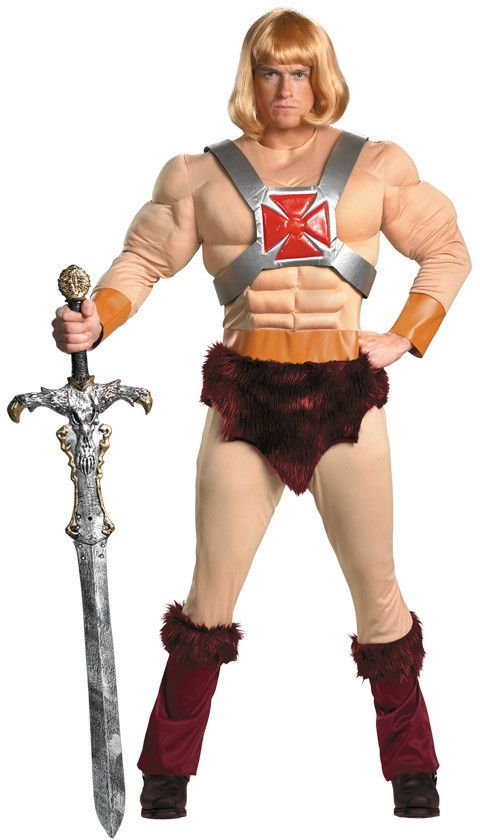 Men's Costume: He-Man Classic Muscle Plus SizeMuscle jumpsuit with attached faux-fur accents and chest bands comes with He-Man wig. Toy weapon not included. Adult plus size fits sizes 50-52.Size: 50-5