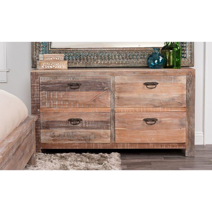 Inspired by classic American furniture, this unique handmade, distressed dresser has a vintage look that will give any room not only storage, but also a new style. The lime wash finished end table will beautifully accent any stylish bed.