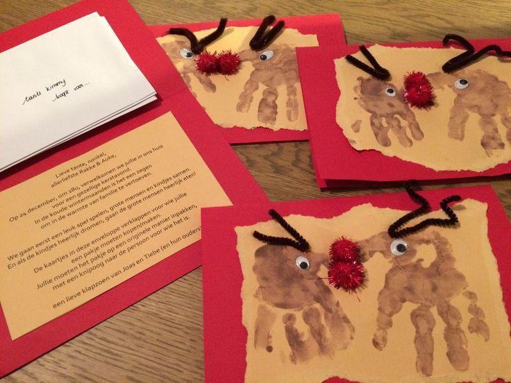 Ik maakte samen met mijn twee zoontjes een uitnodiging voor de familie voor kerstavond. Hun handje in de bruine verf, pijpenragers en rode bolletjes... schattige rendiertjes!