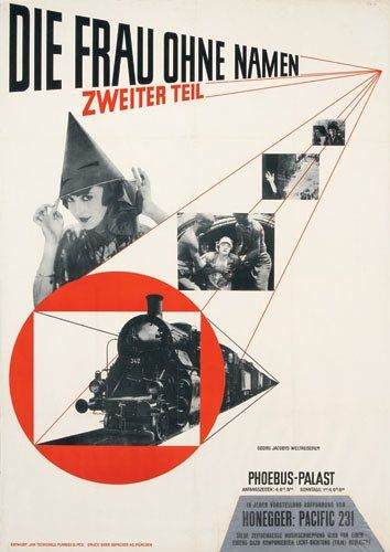 'Die Frau ohne Namen' (The Women Without a Name, Part II) by Jan Tschichold, film poster, photolithograph (1927)