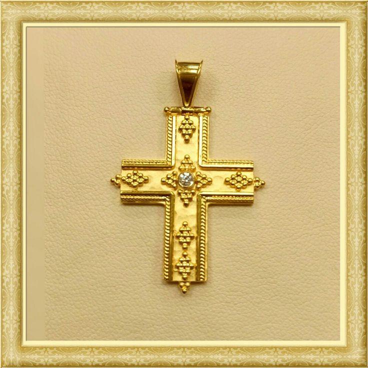 gold cross 18k with diamond