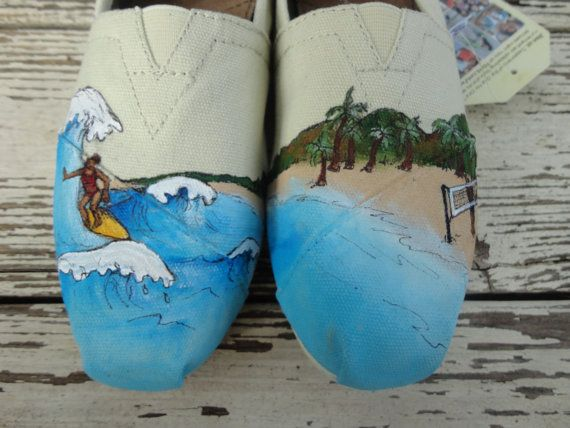 Custom hand painted TOMS Surfing and Volleyball by solereflections, $65.00