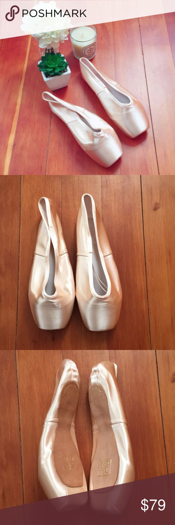 "Gaynor Minden Pointe Shoes NWT Size 9W NWT Never Worn Gaynor Minden Pointe Shoes. I ordered the wrong shank and unfortunately couldn't return. These do not come with elastics or ribbons. No ""Tag"" but new in packaging as pictured. Size 9W (Fits US Street Shoe 7.5-8 approximately. Code: 4-521-22. Box Square & Wide. Shank - 5, Hard. Vamp- 2, Deep. Heel - 2, High Heel. Top Rated Seller & Posh Ambassador. Bundle & Save 10%! Gaynor Minden Shoes"