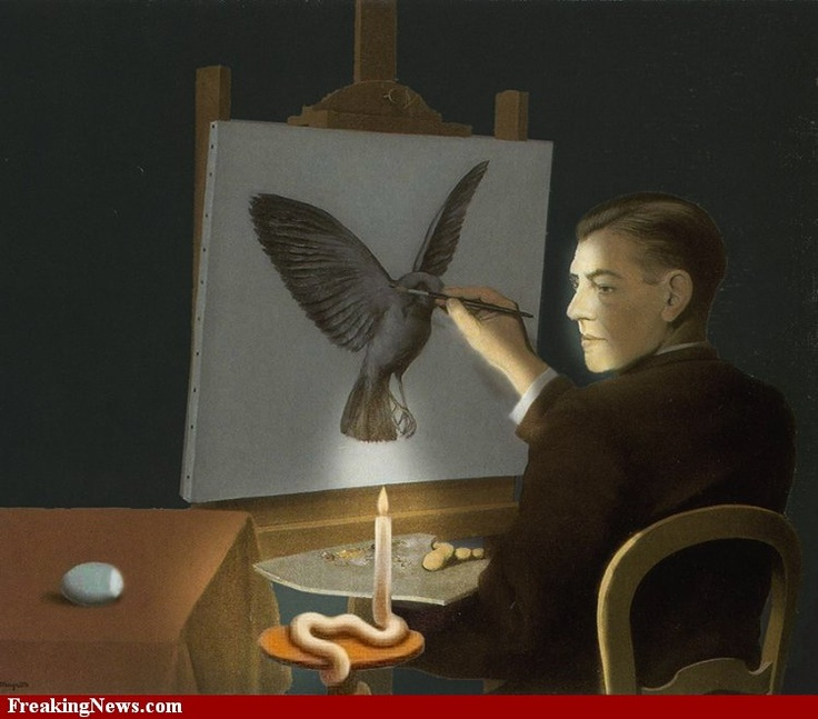 Magritte Paints by CandleLight
