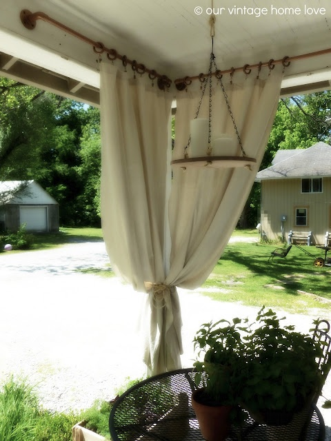pvc pipe curtain rods...painted to look copper. Front / back porch?: Porches Curtains, Back Sid Porches, Sprays Paintings, Porches Ideas, Pvc Pipes, Pipes Curtains Rods, Vintage Homes, Outdoor Curtains, Industrial Pipes