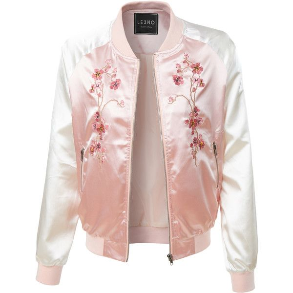 LE3NO Womens Lightweight Satin Floral Embroidery Zip Up Bomber Jacket ($25) ❤ liked on Polyvore featuring outerwear, jackets, bomber jacket, pink jacket, flight bomber jacket, flight jacket and blouson jacket