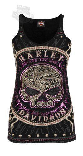 Harley-Davidson Womens Gates Of Skulls Rhinestones and Foil V-Neck Black Sleeveless Tank | bikeraa.com
