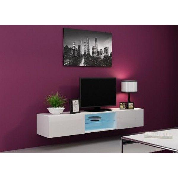 Тумба под телевизор RTV Vigo glass подвесная белый мат/белый блеск - выгодно купить в OdinDoma