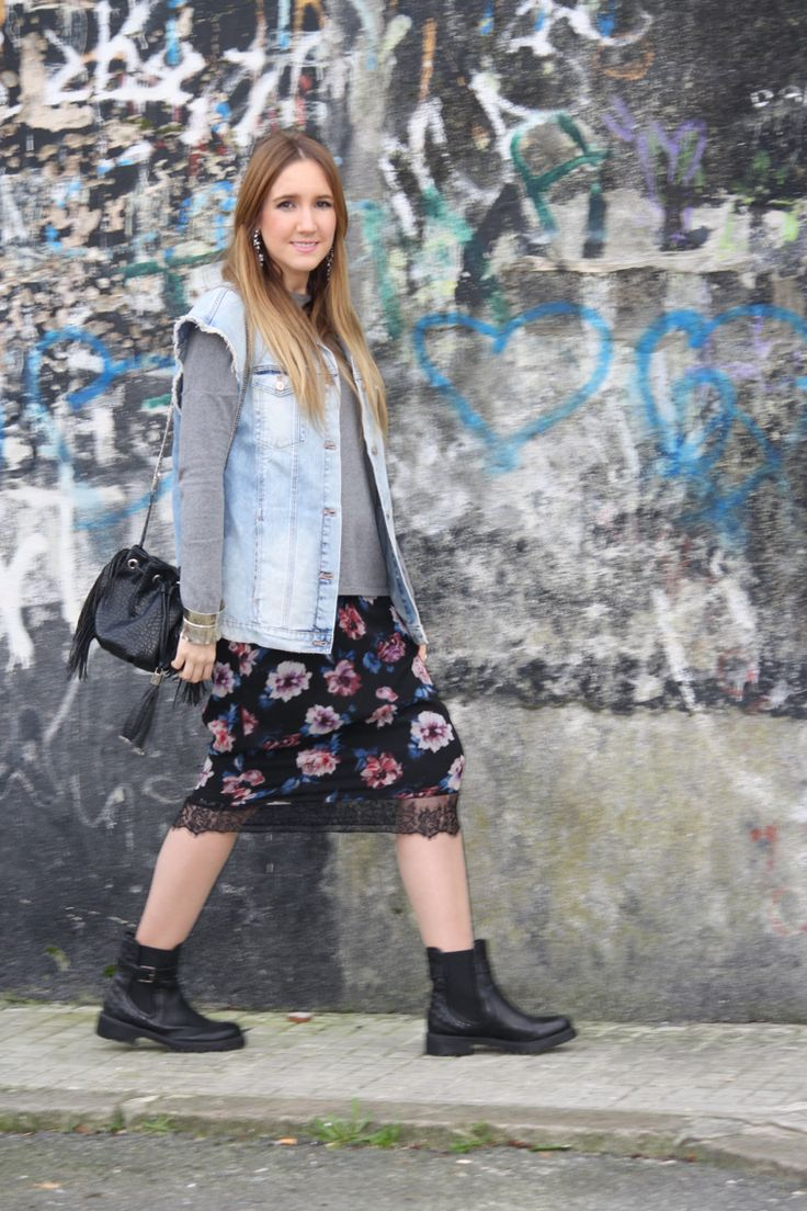 Lace skirt with denim vest