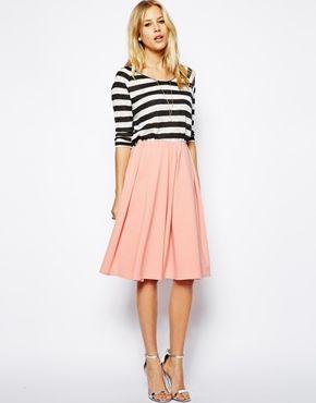 Image 1 ofASOS Midi Skirt in Ponte with Bold Pleats
