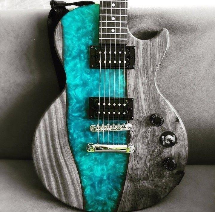Live Edge Epoxy Resin Guitar Guitar Building Cool Guitar Guitar