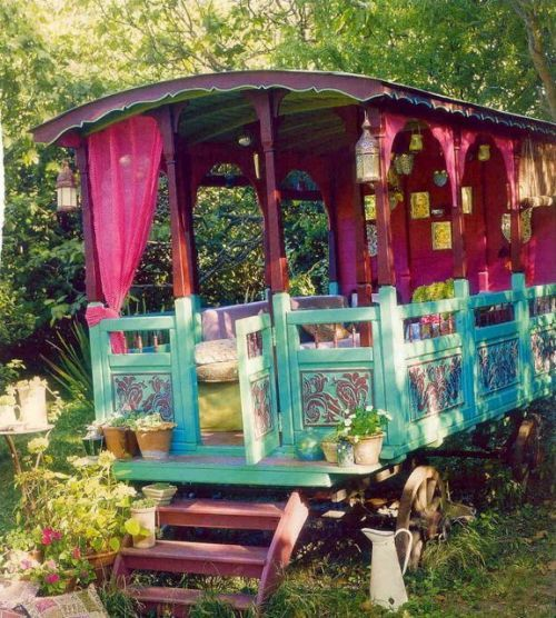 colorful gypsy wagon