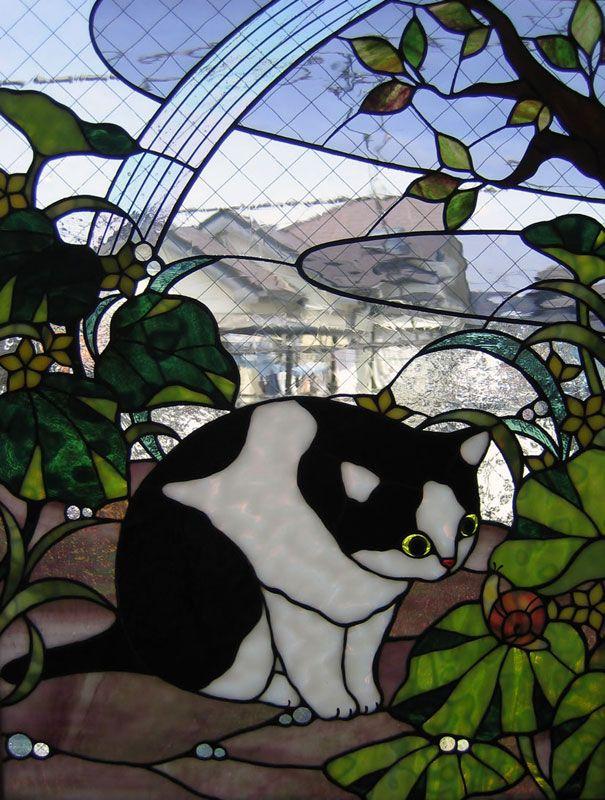 stained glass toto garden | ステンドグラスの猫:『雨上がり』