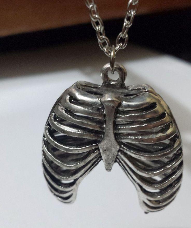 Terminator Nickel Silver Pendant Necklace Robot Cyborg Rib Anatomy Ribcage Bones