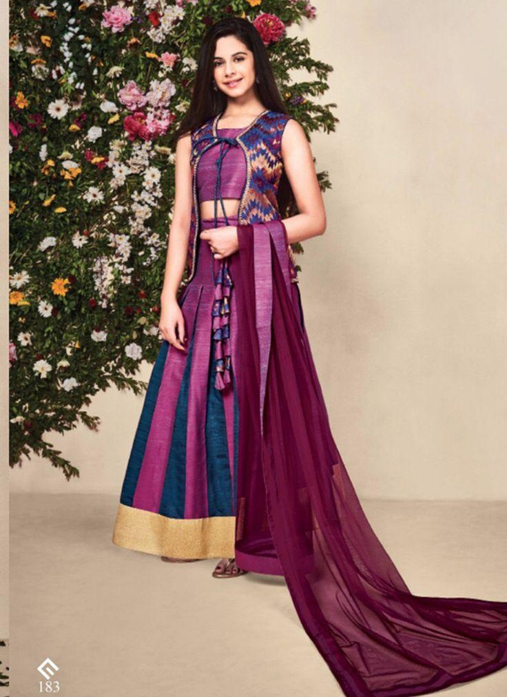 Exclusive banarasi silk with koti kids wear purple  lehenga