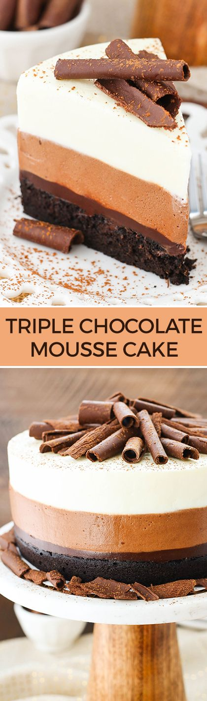 Triple Chocolate Mousse Cake - a layer of dense chocolate cake, chocolate fudge, chocolate mousse and white chocolate mousse! Delicious!: