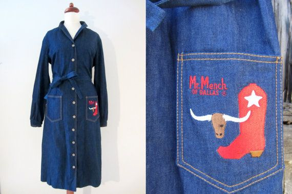 70s Denim Western Shirtdress by Mr Mench of Dallas, S-M // Vintage Day Dress // Cowgirl Dress w/ Sash Belt