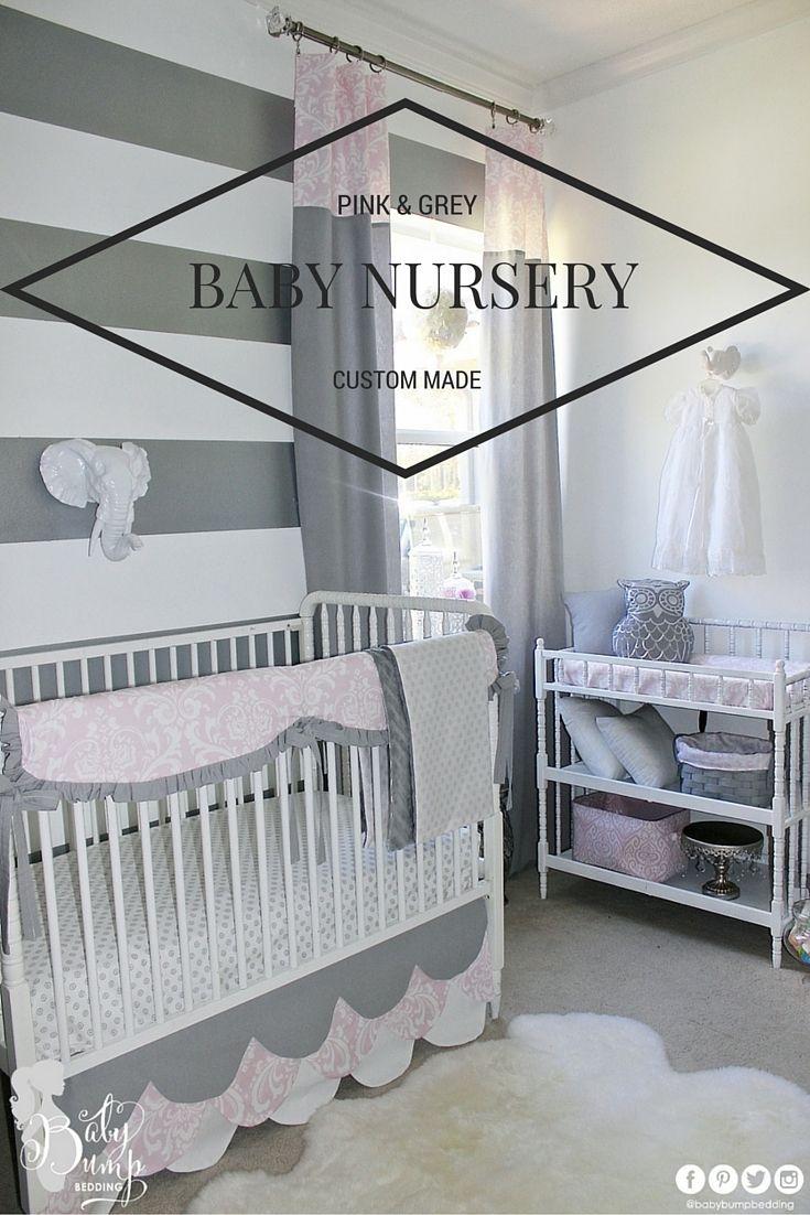 Baby Girl Nursery. Pink And Grey Nursery. Custom Crib Rail Cover Or Baby  Bumper Part 80