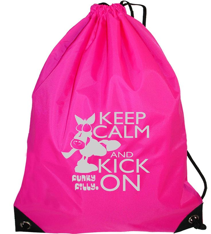 Funky Filly Silver Horse Keep Calm and Kick On Drawstring Bag