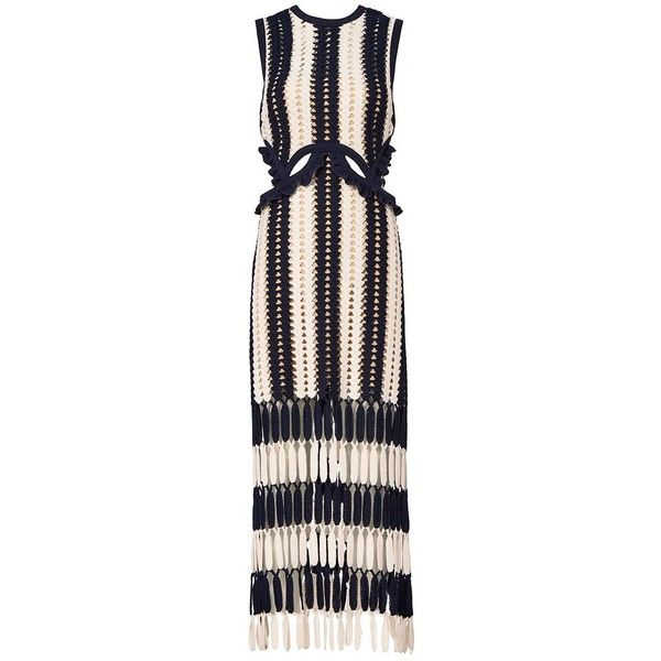 Self-Portrait Women's Striped Crochet Midi Dress (€425) ❤ liked on Polyvore featuring dresses, navy, blue sleeveless dress, cut-out dresses, navy striped dress, blue dress and sleeveless dress