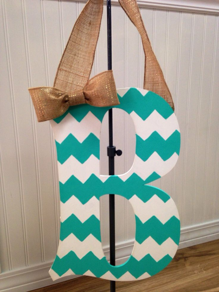 Chevron monogram letters burlap ribbon diy pinterest for Diy monogram gifts