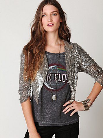 Sequin Jacket.  I have two similiar.  One in black and one in gold.  I love wearing them with t-shirts, muscle shirts or for a more dressy look.  LOVE LOVE.
