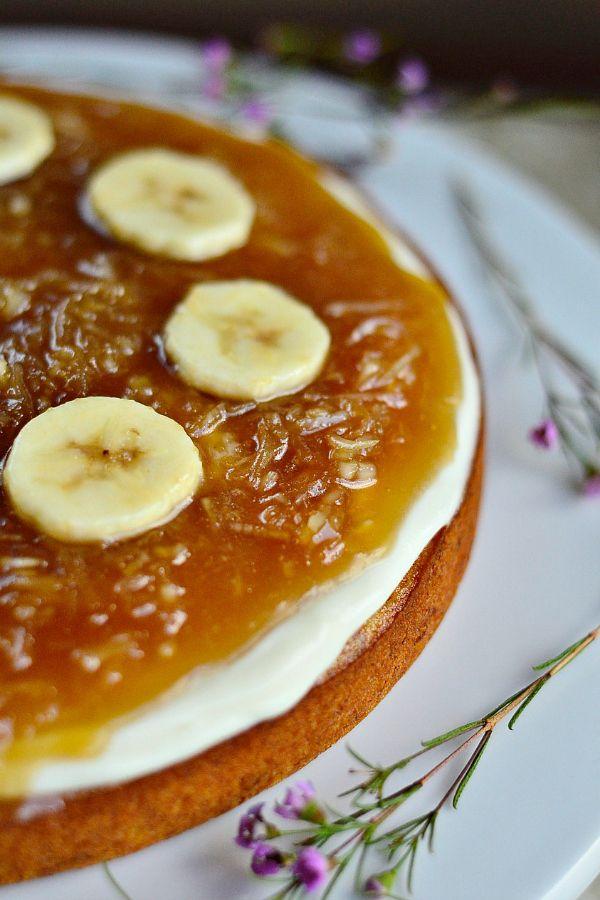 Salted Caramel Coconut Banana Cake #recipe