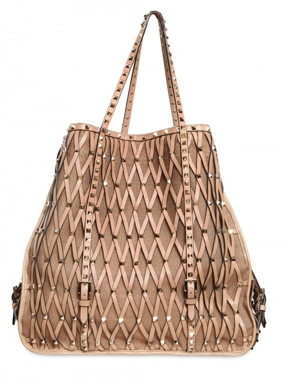 Valentino Rock-studded Net Tote in Beige (camel)