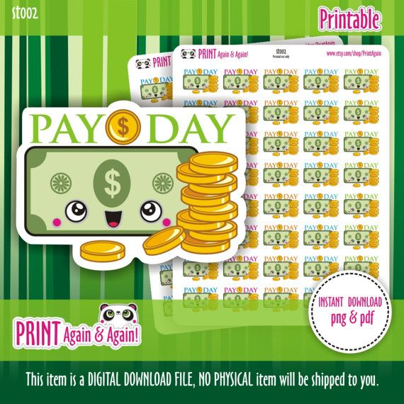 Pay Day 2/Payday USD Planner Stickers Filofax Erin by PrintAgain