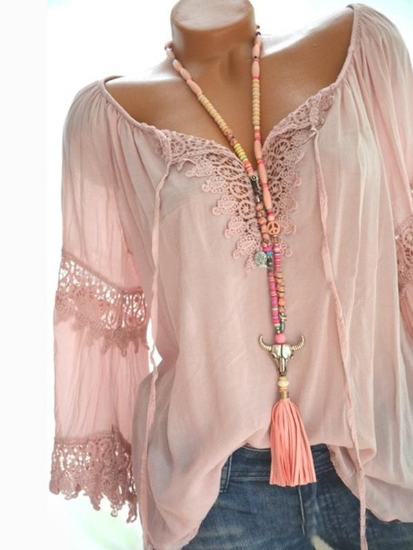 Womens Casual Solid V Neckline Long Sleeve Lace Blouse Tops Plus Size White Black Red Green Blue Blouse