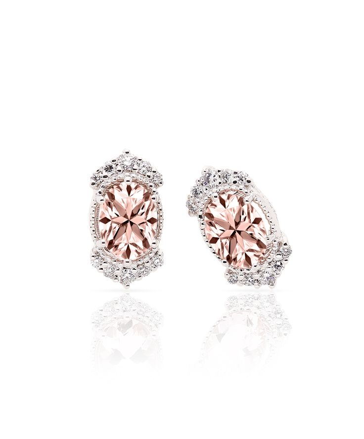 Magical morganite, diamond and white gold studs. Jenna Clifford Designs   Fine Jewellery › Earrings