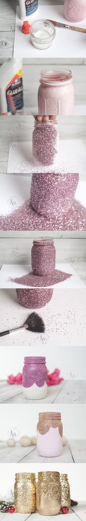 Tarros decorativos con purpurina - kastyles.co - DIY Glitter Mason Jar