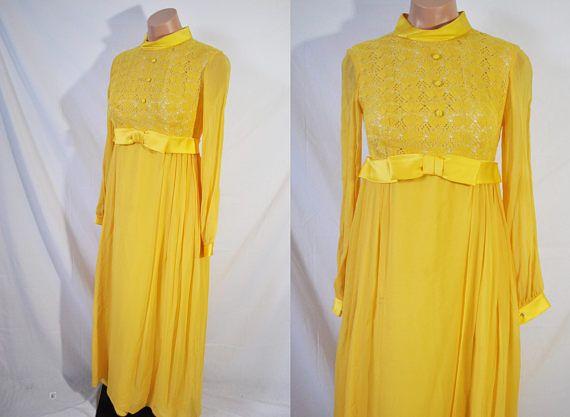 Vintage des années 60 robe formelle modeste jaune Long Mad Men