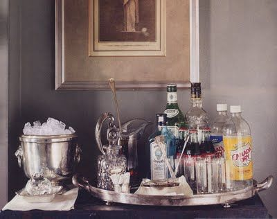 WSH loves a pretty tray to set up the bar essentials. Via Habitually Chic.