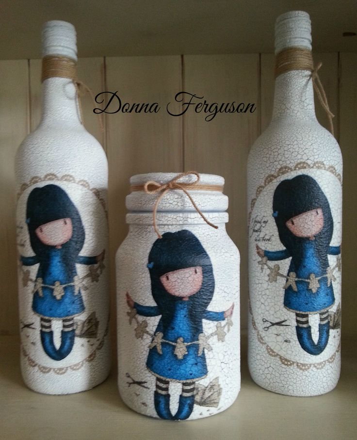 Gorjuss Girls Decoupage Bottles and Jar