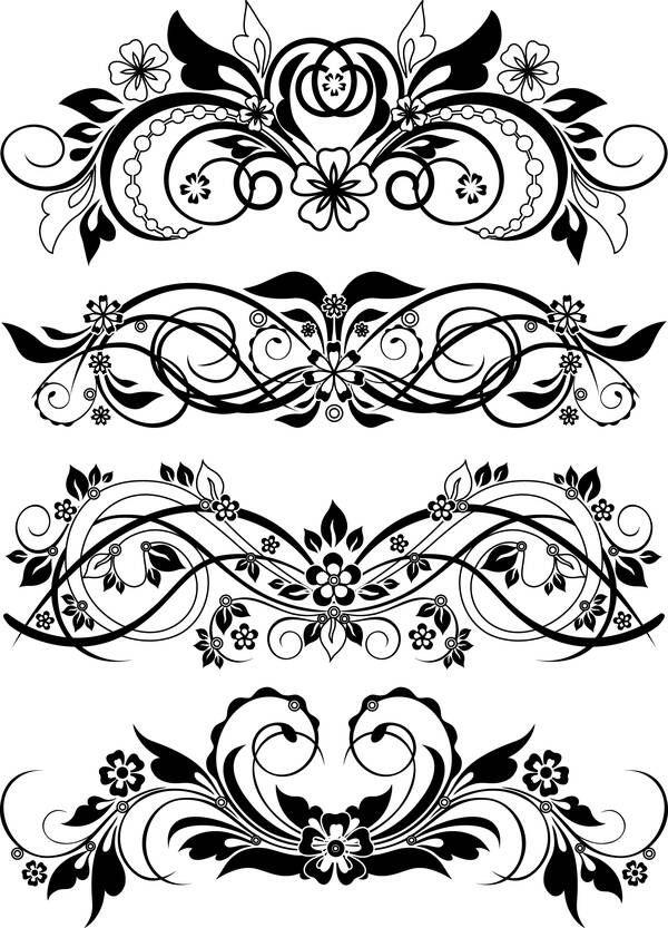 Винтажные чёрно-белые цветочные орнаменты (узоры) / Vector Floral Ornaments