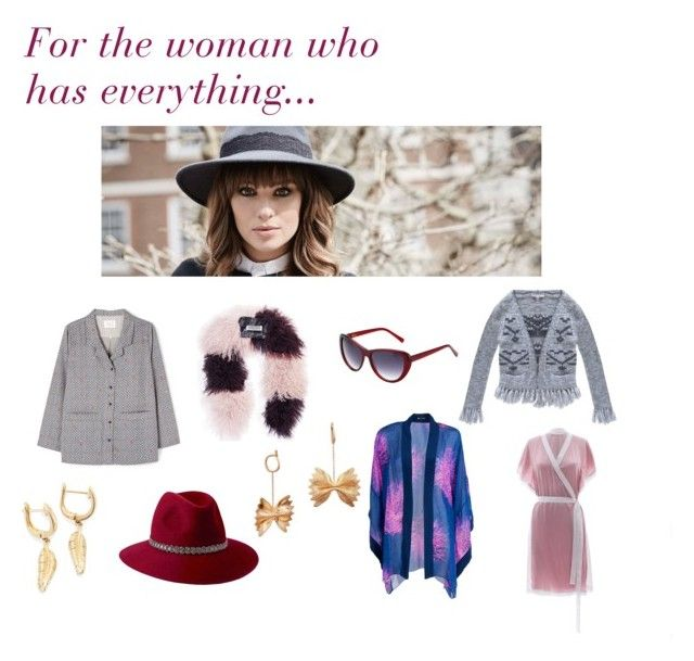 """""""For the woman who has everything"""" by wolfandbadger ❤ liked on Polyvore featuring Yawn, Florence Bridge, Heidi London, Romy & Ray, Penmayne of London, OPENJART, Roses Are Red and Liz Nehdi"""