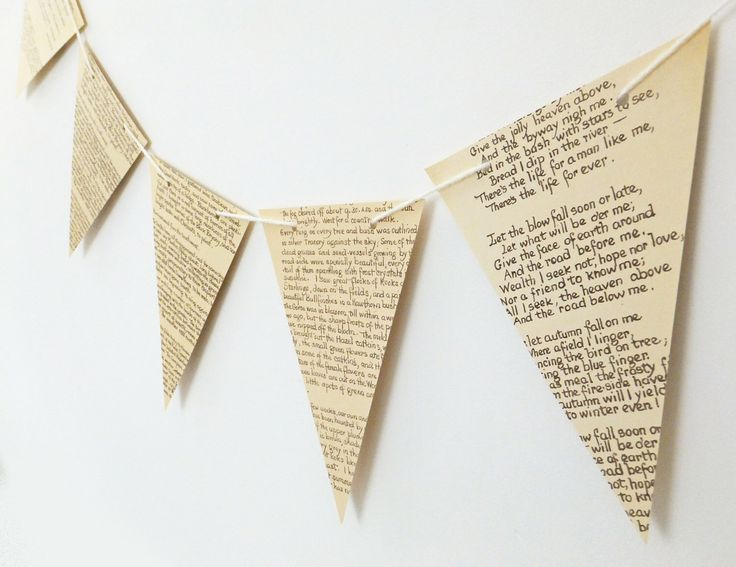 Paper Bunting, recycled Book Garland, Wedding banner, eco-friendly bunting, Rustic wedding decor, Wedding Pennants by PeonyandThistle on Etsy https://www.etsy.com/listing/222712394/paper-bunting-recycled-book-garland
