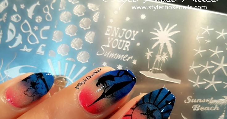 ig@StyleThoseNails Beach summer nails and review of stamping plate JQL-07 from @ladyqueen on blog http://www.stylethosenails.com/2016/04/lady-queen-plate-jq-l07-review-summer.html . . #summernails #stampingnailart #ladyqueenshop #stylethosenails #beachnails