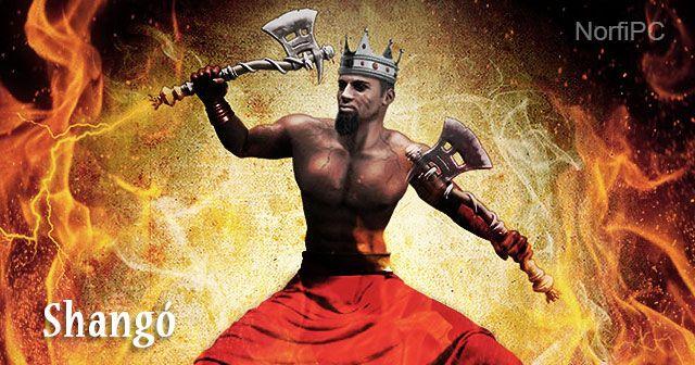 Shangó. Orisha guerrero, justiciero, inteligente, violento y viril.