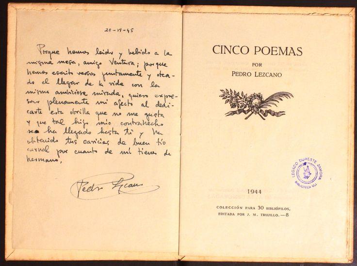 """Dedicatoria de Pedro Lezcano a Ventura Doreste en """"Cinco poemas"""" / por Pedro Lezcano http://absysnetweb.bbtk.ull.es/cgi-bin/abnetopac01?TITN=459578"""