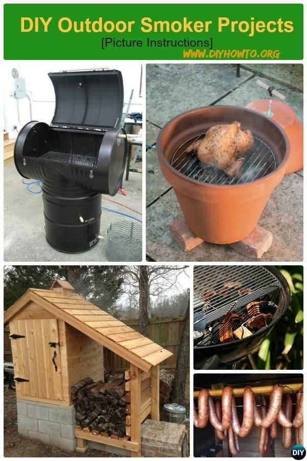 DIY Outdoor Smoker Projects from easy set-up flower clay pot smokers, recycled 55 gallon drum smoker to cedar smoke house.