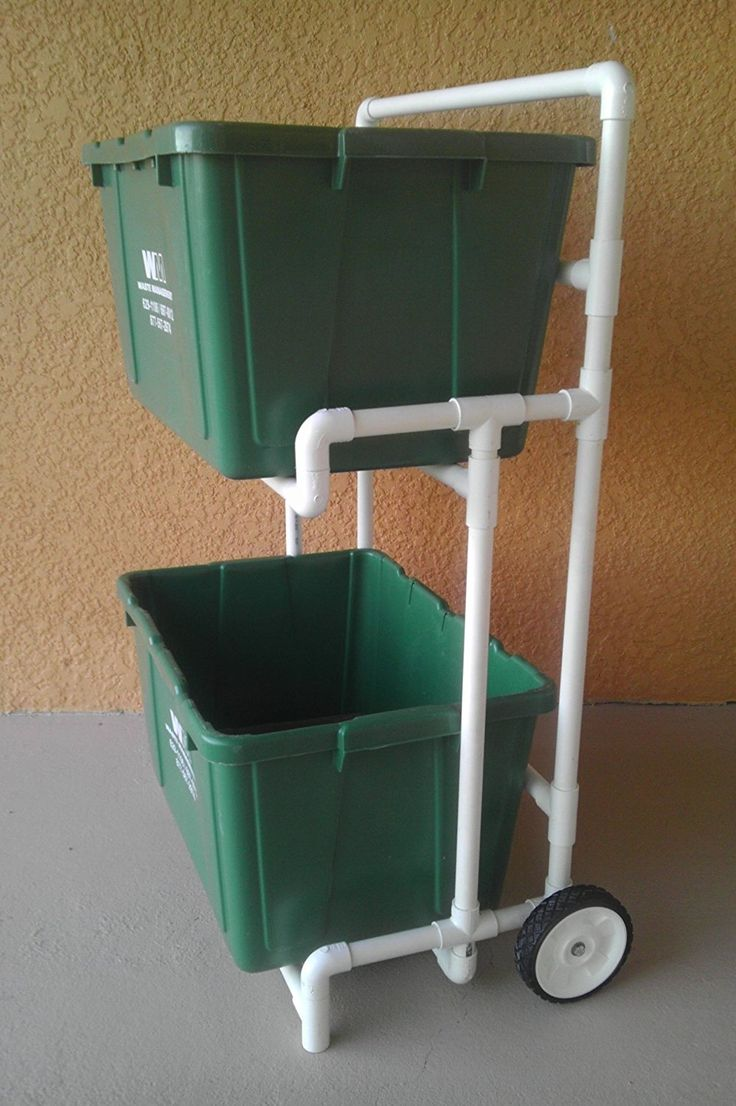 Pvc Recycle Bin Cart / Curbside Recycling Dolly, No Metal to Rust, No Paint to Peel